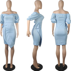 Sexy Slash Neck Lantern Sleeve Midi Dress MIL-165