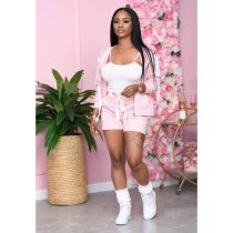 Fashion Casual Solid Color Sports Long Sleeve Top And Shorts Three Piece Set OFN-6431