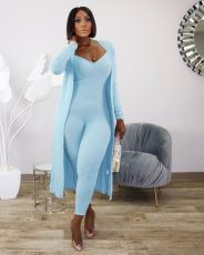 Casual Rib Long Sleeve Coat + Slim Fit jumpsuit Two Piece Set TR-1068