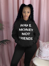 Plus Size Letters Print Casual Loose Hoodies Tops QZX-6159