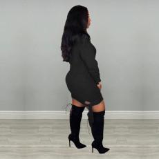 Plus Size Poker Print Long Sleeve Mini Dress MIL-164