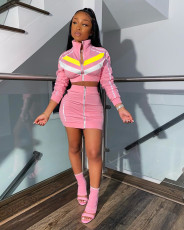 Casual Zipper Long Sleeve Mini Skirt 2 Piece Sets MTY-6323
