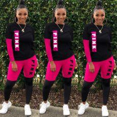 Plus Size Pink Letter Print Two Piece Pants Set MTY-6339