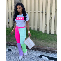 Fashion Casual Short Sleeve Letters Print And Color Block Splice Stacked Pants Set WZ-8318