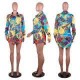Casual Printed Long Sleeves Shirt Dress PN-6595