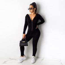 Solid Hooded Zipper Long Sleeves Jumpsuits PN-6285