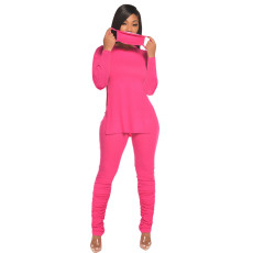 Plus Size Solid Split Tops Stacked Pants Set Without Mask QY-5206