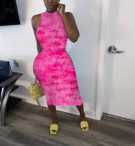 Sexy Tie Dye Sleeveless Slim Midi Dress SMF-8023