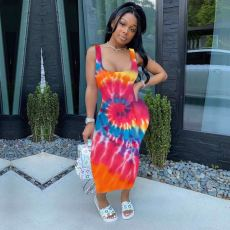 Sexy Tie Dye Print Sleeveless Long Tank Dress SMF-8024