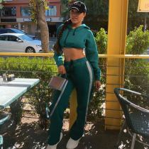 Plus Size Casual Hoodied Pants Two Piece Sets OM-1166