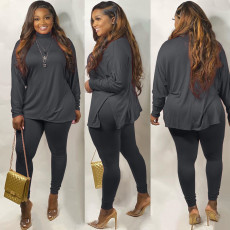 Plus Size Solid Long Sleeves Two Piece Pants Set WAF-7071