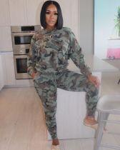 Plus Size Camo Print Long Sleeves 2 Piece Pants Suit WAF-7070