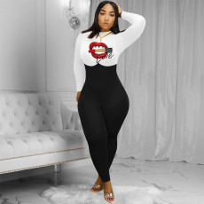 Plus Size Lips Print Long Sleeve Tight Jumpsuits WAF-7067