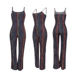 Sexy Striped Off Shoulde Straps Jumpsuits YD-8284