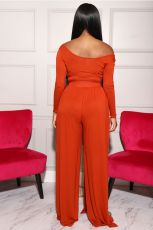 Plus Size Solid Long Sleeves Two Piece Pants Set SFY-160