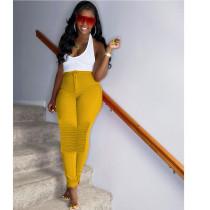 Solid Mid Waist Zipper Skinny Long Pants YIY-5211
