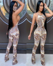 Leopard Backless Ruched Flared Jumpsuits With Mask LA-3216