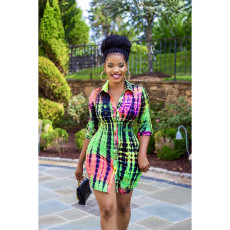Tie Dye Long Sleeves Sashes Shirt Dress AWF-0025