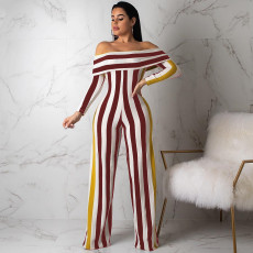 Sexy Striped Slash Neck Long Sleeve Jumpsuits CHY-1104