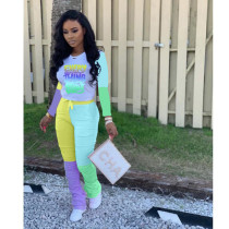 Contrast Color Letters Stacked Pants 2 Piece Sets YLF-8027