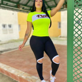 Pink Letter Print T Shirt And Pants 2 Piece Sets YUF-9022
