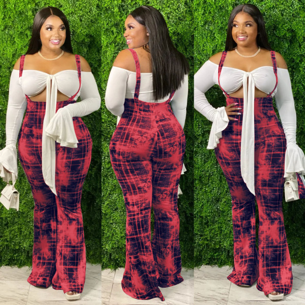 Plus Size Casual Printed Strap Long Flared Jumpsuits MX-6015