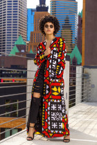 Geometric Print Full Sleeve Sashes Long Coat ML-7138