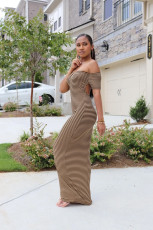 Sexy Striped Off Shoulder Maxi Dress YUF-9035