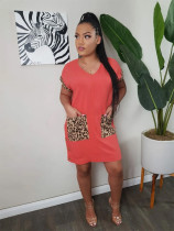Leopard Pocket Short Sleeve Mini Dress YUF-9029