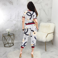Casual Printed Short Sleeve Two Piece Pants Set SMR-9717