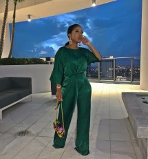 Trendy Solid Wide Leg Pants Two Piece Suits MK-3017