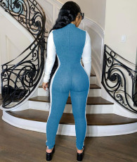 Sexy Patchwork Zipper Long Sleeves SKinny Jumpsuits WSM-5193