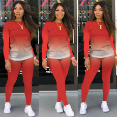 Gradient Long Sleeves Two Piece Pants Sets SMR-9735