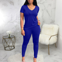 Solid T Shirt And Pants Two Piece Sets SMR-9690