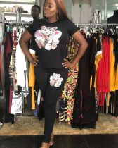 Cartoon Print T Shirt And Pants Two Piece Sets DMF-8070
