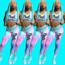 Pink Letter Print Tie Dye Fitness Two Piece Sets DMF-8061
