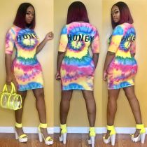 Tie Dye Letter Print Short Sleeve Mini Dress DMF-8069