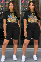 Cartoon Casual Solid Color T Shirt Shorts Sports Two Piece Set DMF-8118