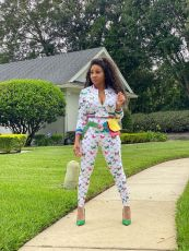 Butterfly Print Tracksuit Long Sleeve Top And Pants Two Piece Set DMF-8135