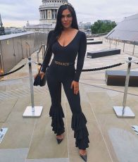 Fashion Sexy Solid Color Long Sleeve V Neck Ruffle Jumpsuit Without Belt DMF-8139