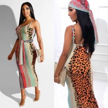 Leopard Sleveless Backless Strap Sashes Midi Dress DMF-8086