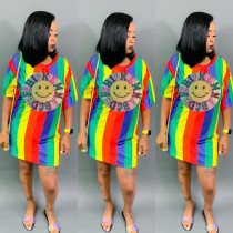 Rainbow Striped Sequined Short Sleeve Mini Dress DMF-8084