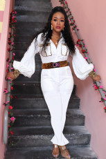 Plus Size Casual Long Sleeve One Piece Jumpsuit Without Belt DMF-8095
