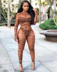 Sexy Zebra Stripe Mesh See Through Jumpsuits DMF-8094
