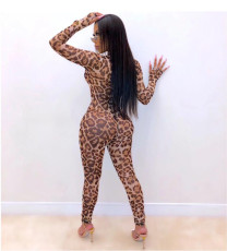 Sexy Leopard Mesh See Through Skinny Jumpsuit DMF-8088