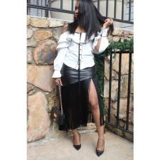 PU Leather Tassel Black Midi Skirt DMF-8036