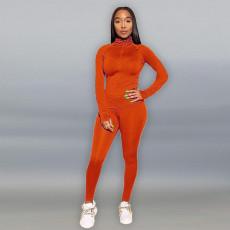 Solid Long Sleeve Zipper Two Piece Pants Set ME-653