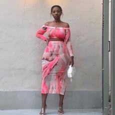Printed Off Shoulder Long Sleeve Crop Top And Skirt Sets YF-9726