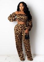Plus Size Leopard Slash Neck 2 Piece Pants Set LX-8005