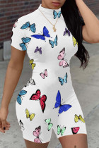 Sexy Short Sleeve Butterfly Print Sport Club Party Slim Rompers LSD-8754